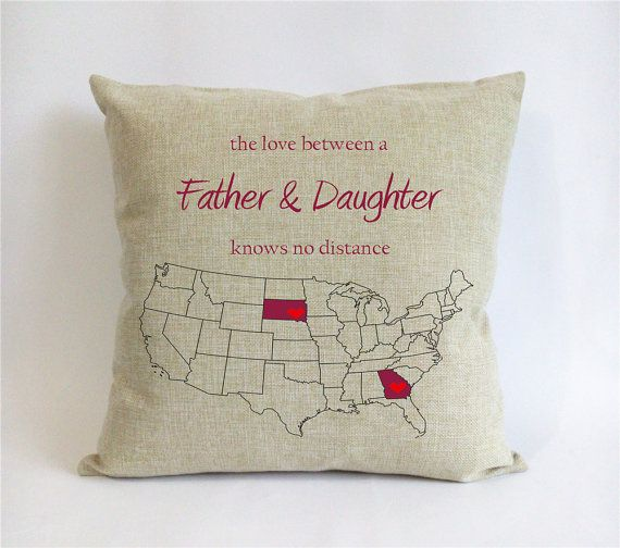 Long Distance Father Daughter Pillow Burlap Fathers Day Gift From For Dad The Love Between A Knows No