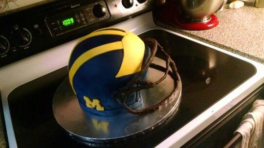 3d Football Helmet Cake University Of Michigan Go Blue Dad Birthday Cakes Football Helmet Cake Football Helmets