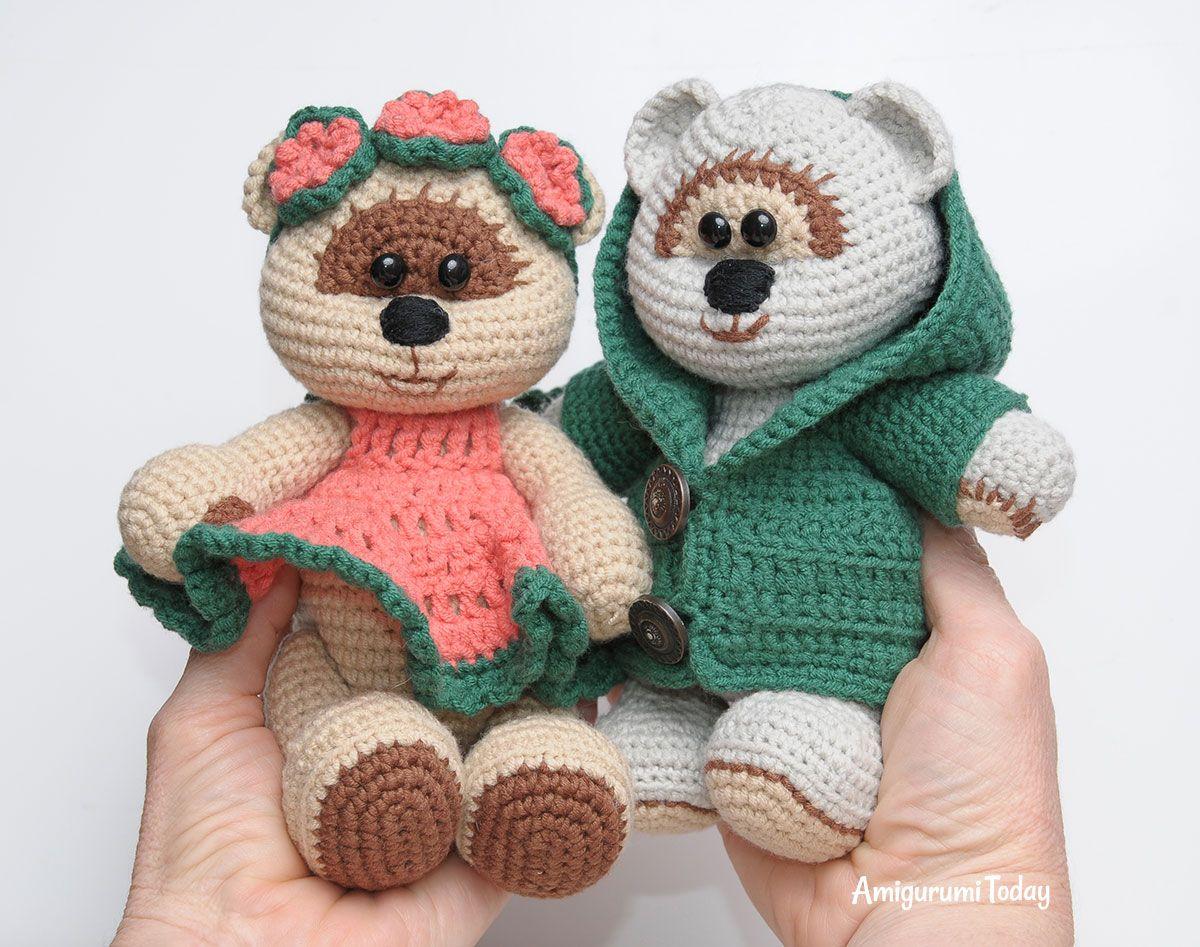 Honey teddy bears in love: crochet pattern | Amigurumi, Teddy bear ...