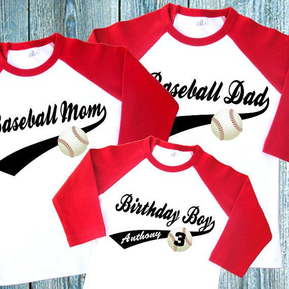 Baseball Birthday Family Shirts Set Of 3 Personalized Raglan Dad Mom 1973