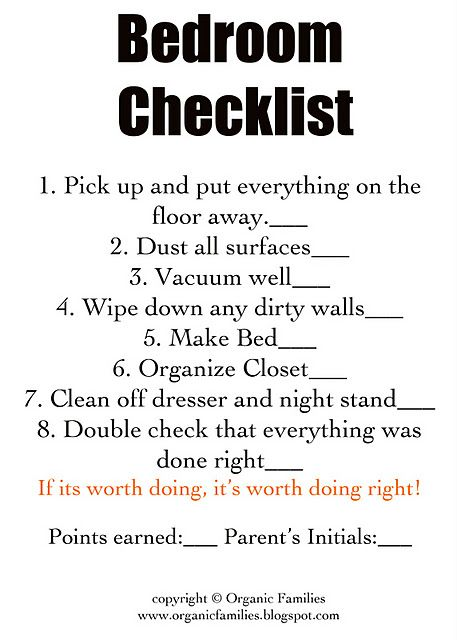 checklists to help kids help clean every room in the house we will be using - Baby Room Checklist