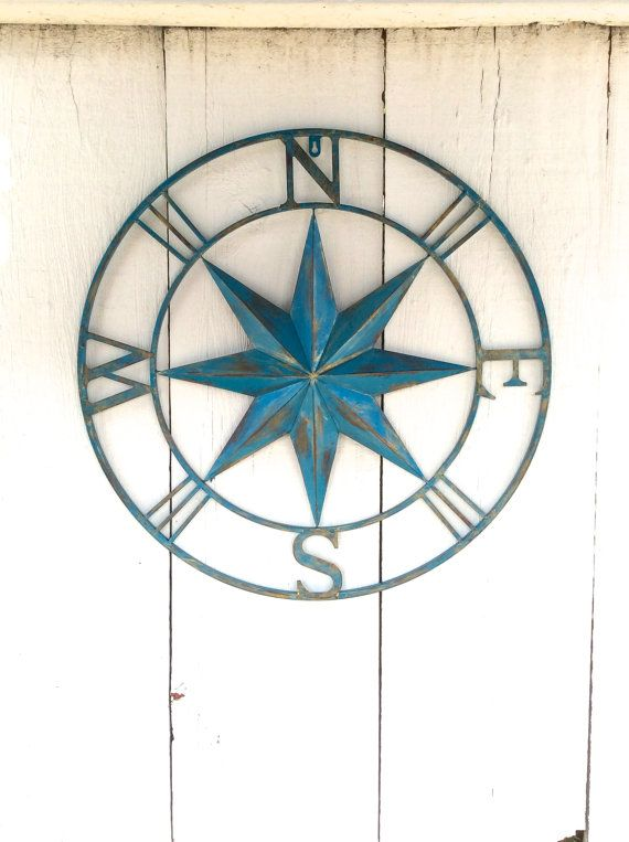 Metal Comp Wall Decor Nautical Art Teal Blue