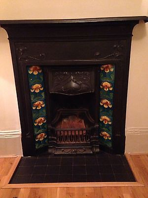 Victorian Cast Iron Fireplace With Tile Insert Ebay Cast Iron Fireplace Vintage Fireplace Fireplace