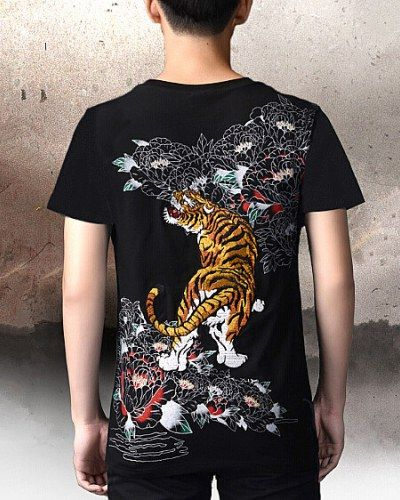 d0d5d0ca Tiger embroidered t shirt for men Chinese style plus size t shirts xxxxl