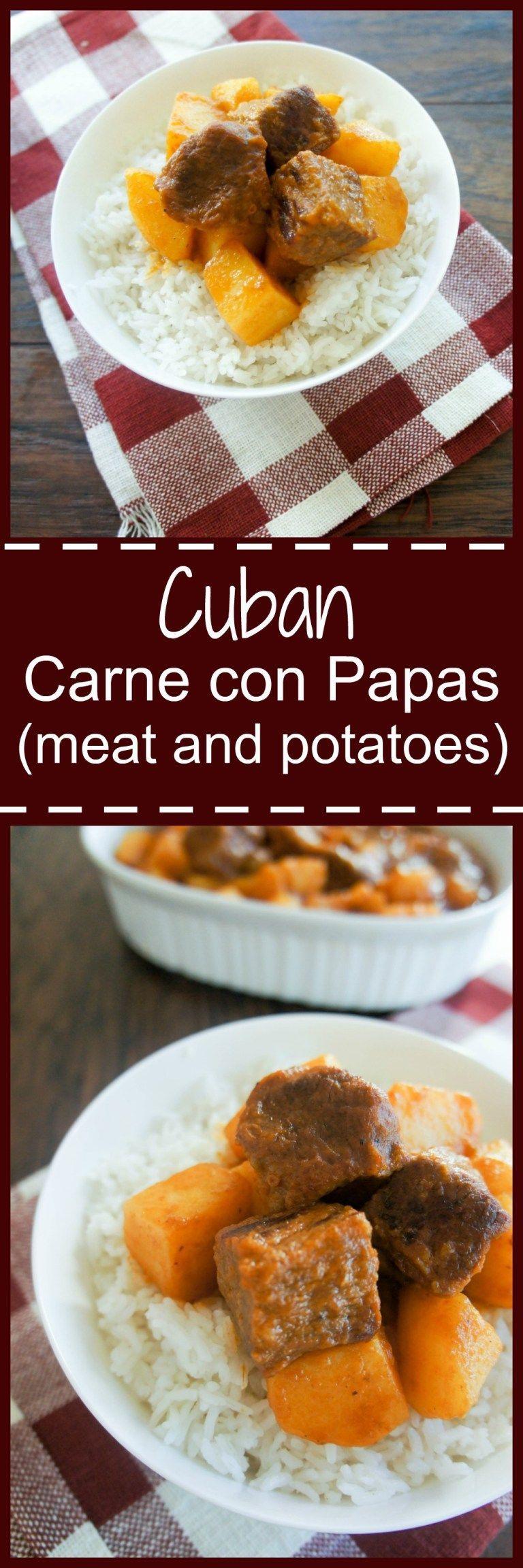 Cuban Meat & Potatoes (Carne con Papas #carneconpapas Cuban Carne Con Papas is the perfect comforting dinner the whole family will love! #carneconpapas