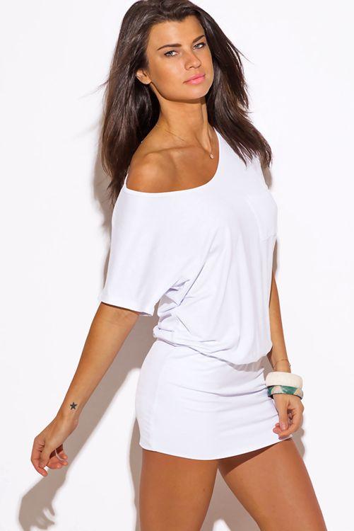 Cute cheap white short sleeve banded tunic mini dress
