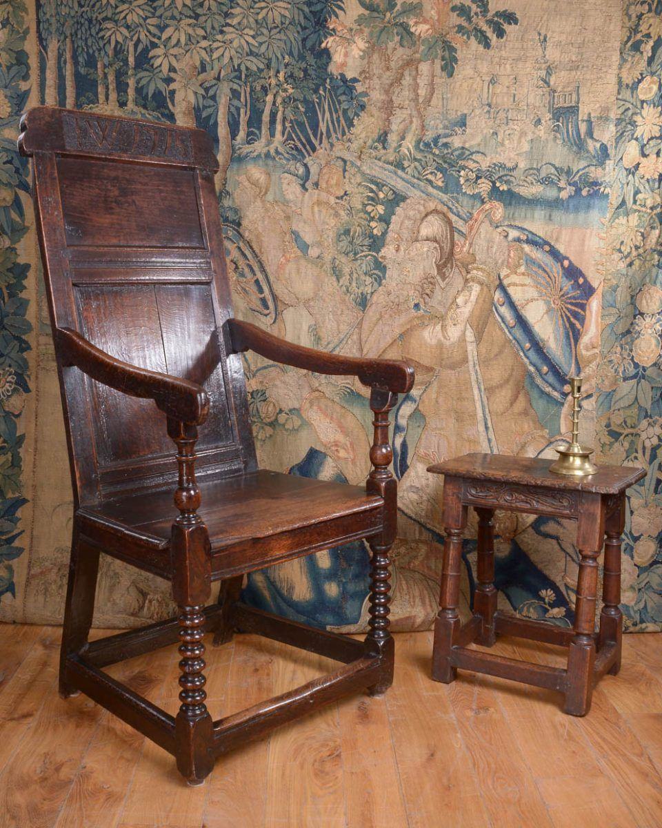 Attirant Westmoreland Joined Oak Armchair, Dated 1715. Marhamchurch Antiques