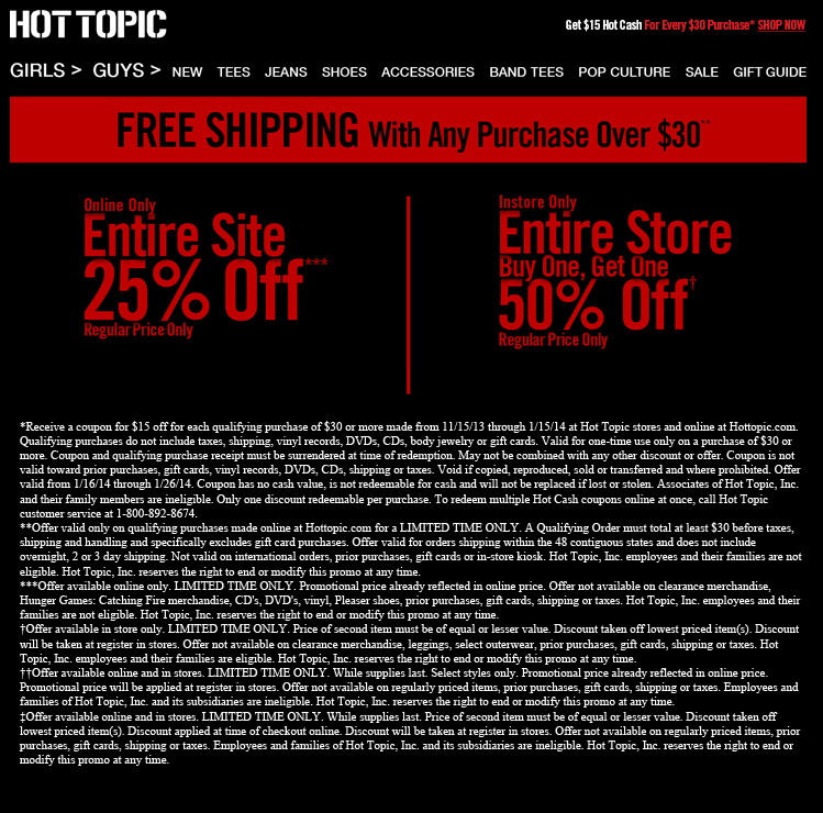 Pinned January 7th Second Item 50 Off At Hot Topic Or 25 Off Online No Code Needed Coupon Via The Coupons App Topics Hot Topic Tee Pop