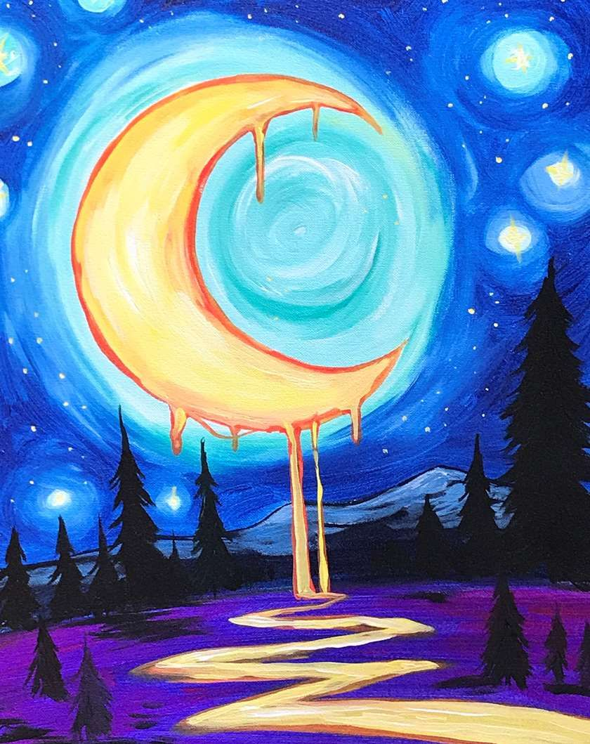 Melting moon | Paint Night in 2019 | Painting, Watercolor ...