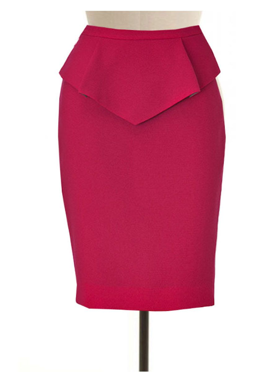 181b66954 Wool Blend Pencil Skirt with Peplum, Custom Made to Fit, Fully Lined ...