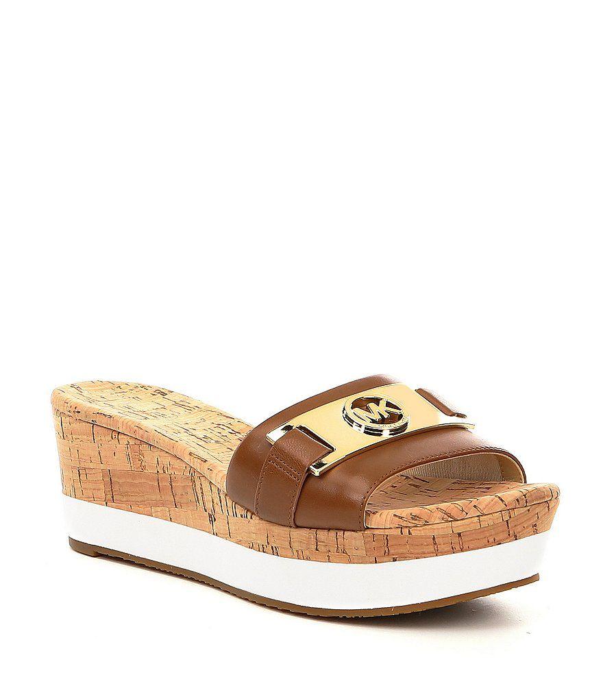 Platform wedge sandals, Leather wedge