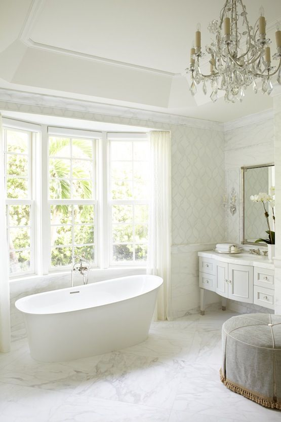 White Waterfront Bathroom Bath French Country MidCenturyModern