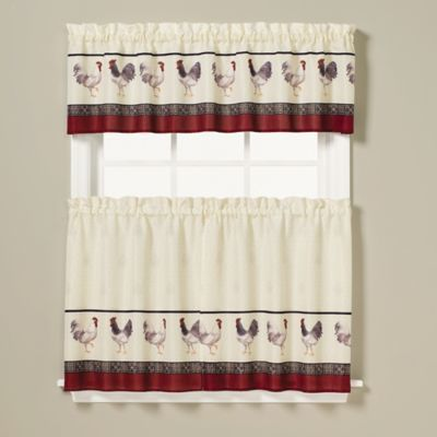 Bed Bath Beyond Rooster Print 26 Inch Window Curtain Tier Pair