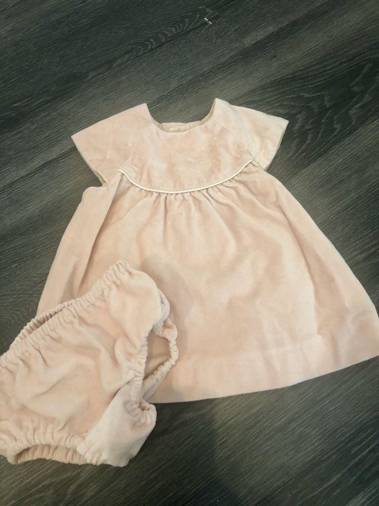6ad808f97b64 Zara Blush Pink Velvet Baby Girls Dress 3-6 Months  fashion ...