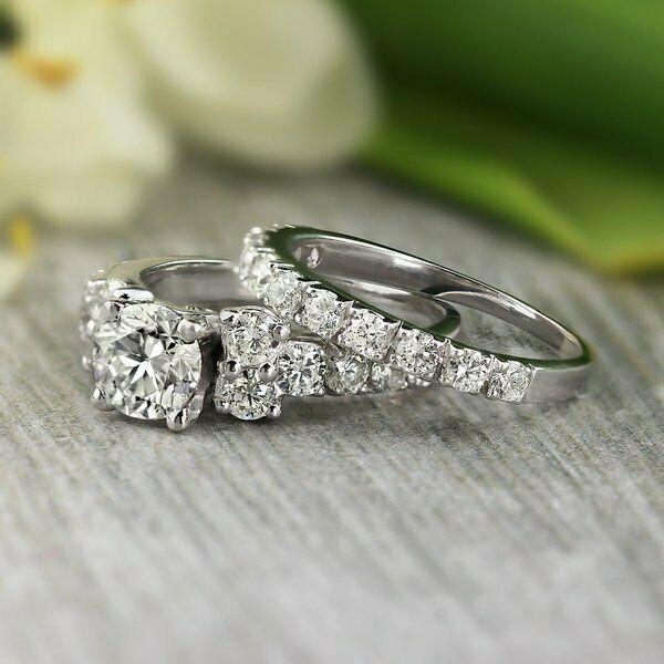 f3aa9e1a4 2Ct Round-Cut D/VVS1 Diamond Engagement Bridal Ring Set 14k White Gold  Finish #giftjewelry22 #EngagementWeddingAnniversaryDailyWear