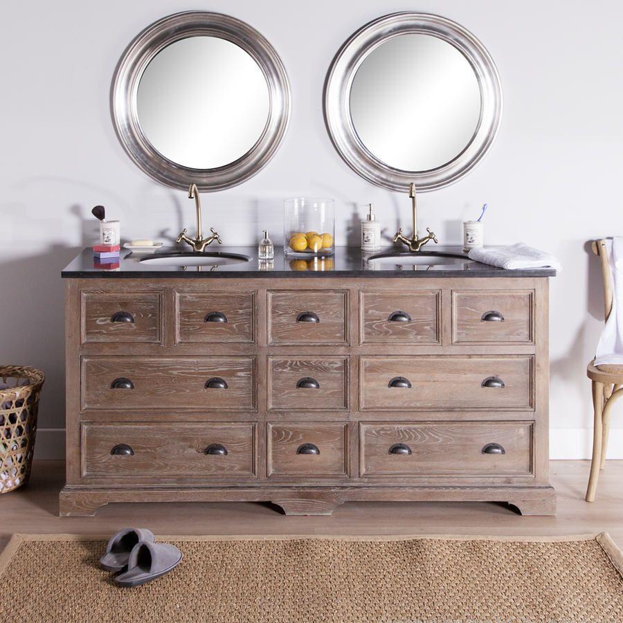 soldes meuble salle de bain delamaison meuble vasque poseidon en ch ne gris ventes pas cher. Black Bedroom Furniture Sets. Home Design Ideas