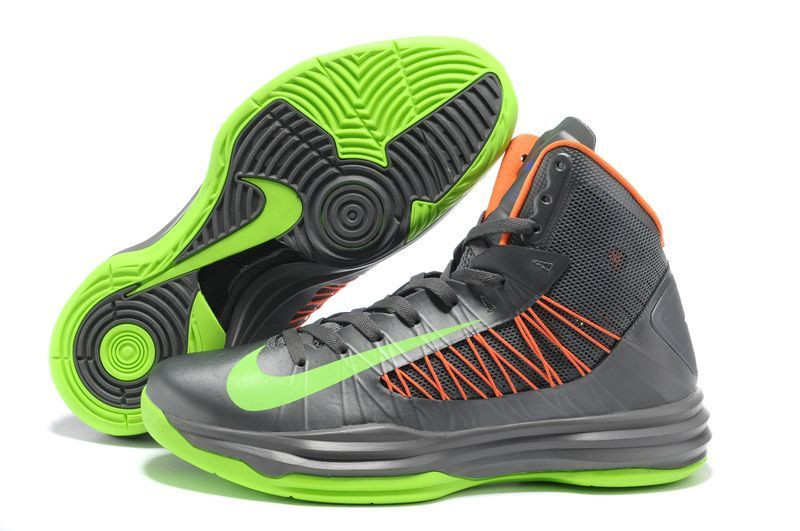 Nike 2013 Womens Lunar Hyperdunk Grey Green Orange Basketball Shoes