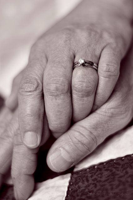 This picture makes me want to cry. This will be us in 50 years - even my ring set is almost identical.