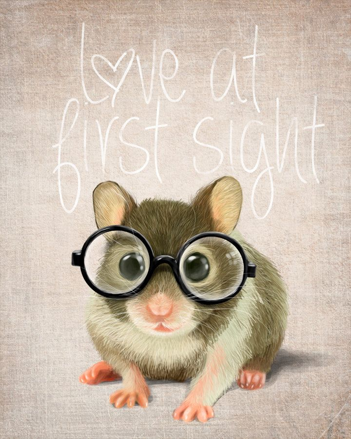 A Small Mouse With Glasses On A Rustic Background (print