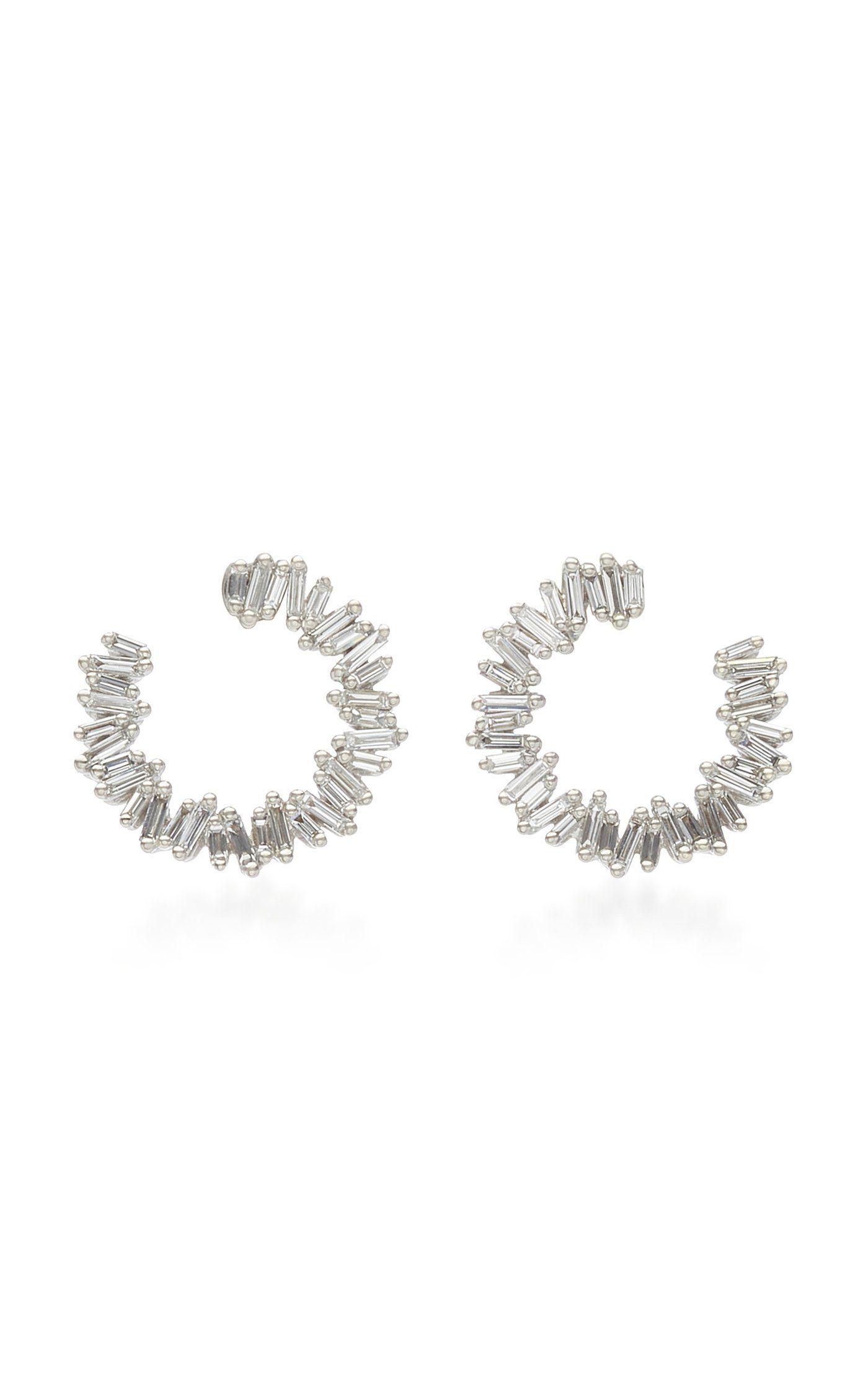 18k White Gold Spiral Hoop Earrings By Suzanne Kalan Moda Operandi Bisuteria Joyas