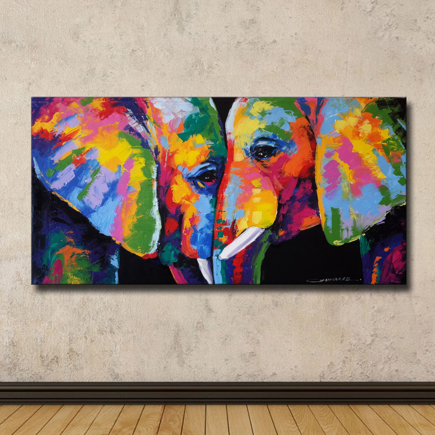 Colorful Elephant Painting,60cm(H) × 120cm(W) by ...