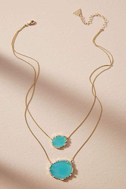 serefina Double Stone Pendant Necklace 5MQzXfIq