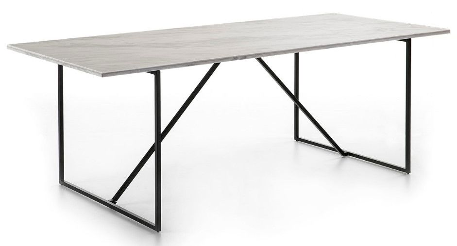 Thai Mobilier Table A Manger Rectangulaire Marbre Blanc Et Metal Noir Guaie Lestendances Fr En 2020 Table A Manger Table A Manger Rectangulaire Marbre Blanc