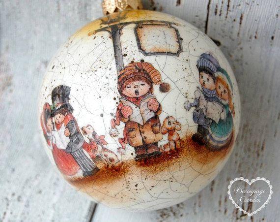 Bola de Navidad, villancicos de adornos, Navidad Decoupage, arte de - cosas de navidad