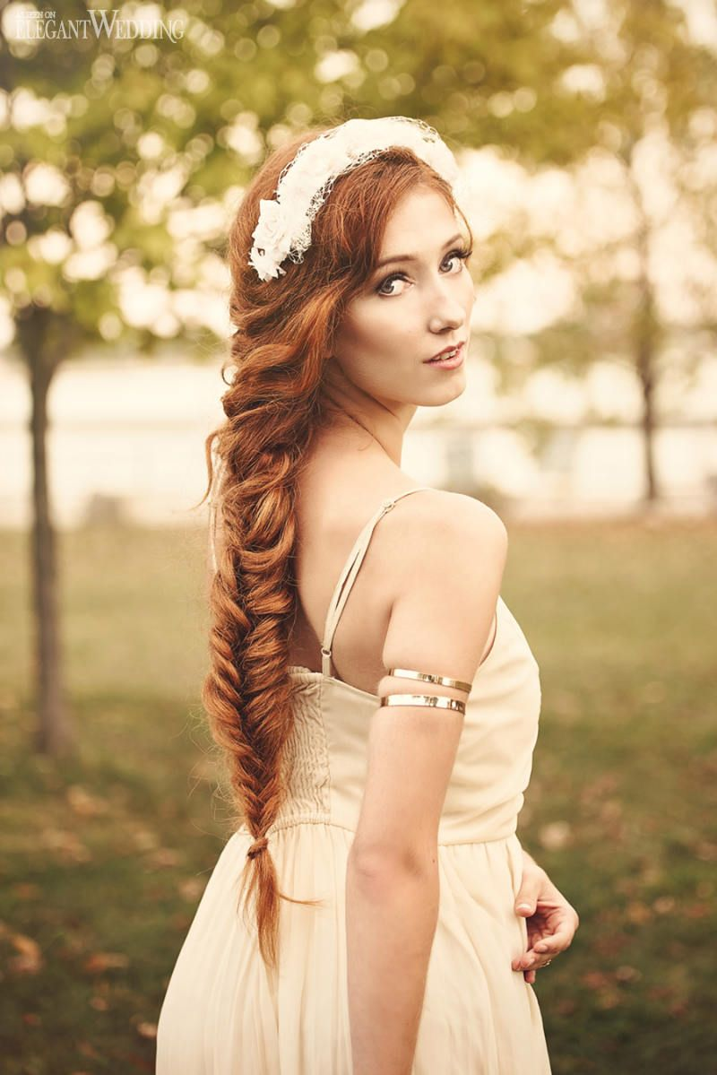 bridal beauty hair and makeup | long redhead fishtail braid