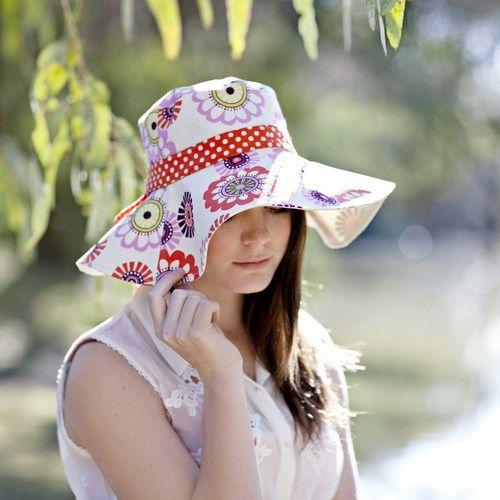 Womens Sun Hat Pattern PDF Sewing Pattern Reversible Sunhat Wide Brim