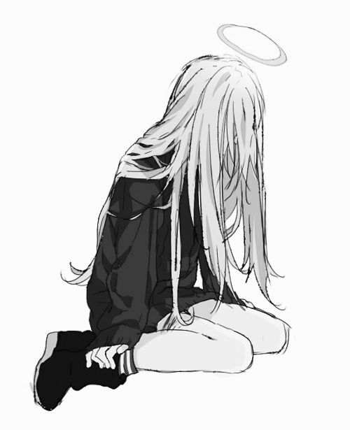 Sad Anime Girl Black And White