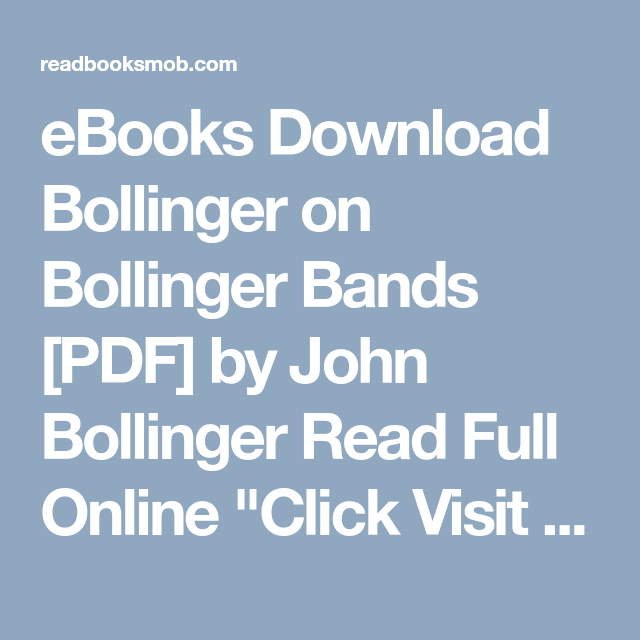 Ebooks Download Bollinger On Bollinger Bands Pdf By John Bollinger