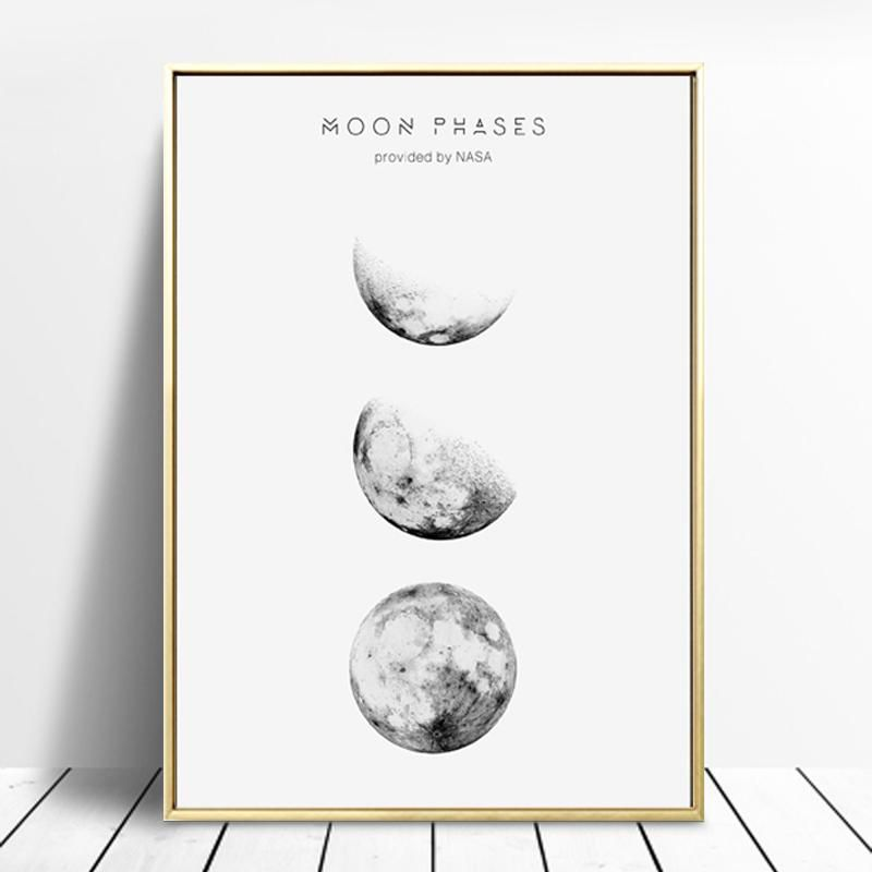 A Study Of Nasa Moon Phases Wall Art Abstract Black White Astronomy Art Nordicwallart Com Canvas Art Painting Wall Art Pictures Space Art