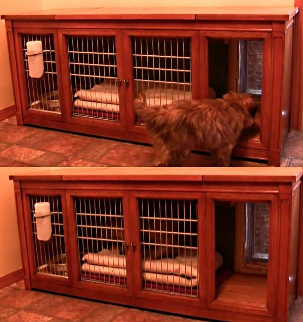Transforming A Vintage Stereo Cabinet To Indoor Dog House