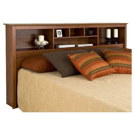 King Bookcase Headboard With Adjustable Shelf In Cherry Finish