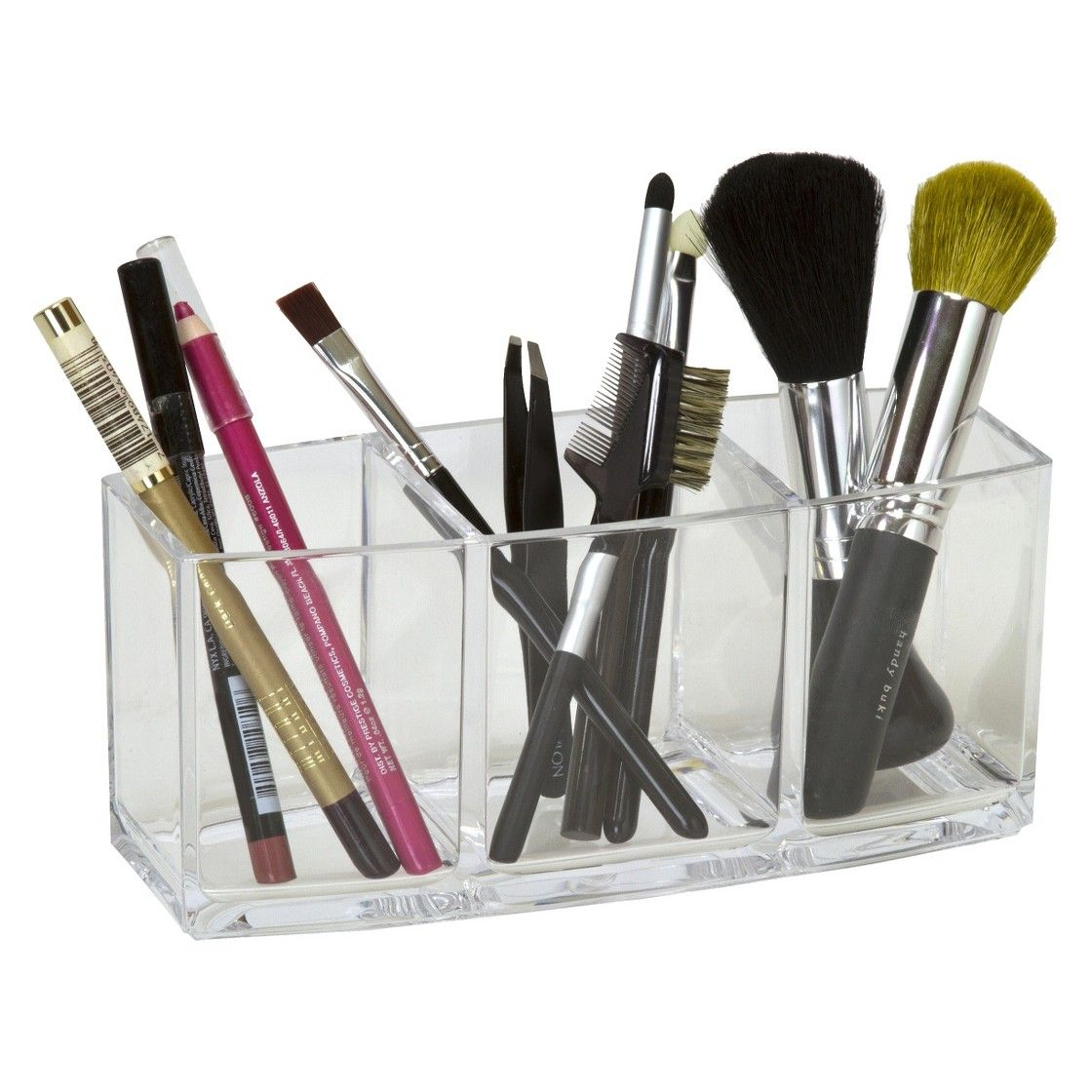 3 Clear Compartment Brush and Pencil Holder Makeup brush