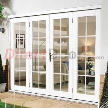 Nuvu White 8 Pane Exterior French Doors With Twin Side Frames Fully