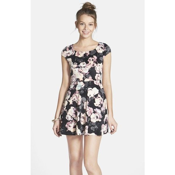 Junior Women's Fire Floral Print Bow Back Velvet Skater Dress ($48) ❤ liked on Polyvore featuring dresses, rose dress, victorian day dress, cap sleeve dress, velvet skater dress and floral velvet dress