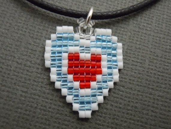 Crystal Heart Container Necklace Seed Bead Video Game by Pixelosis, $14.00