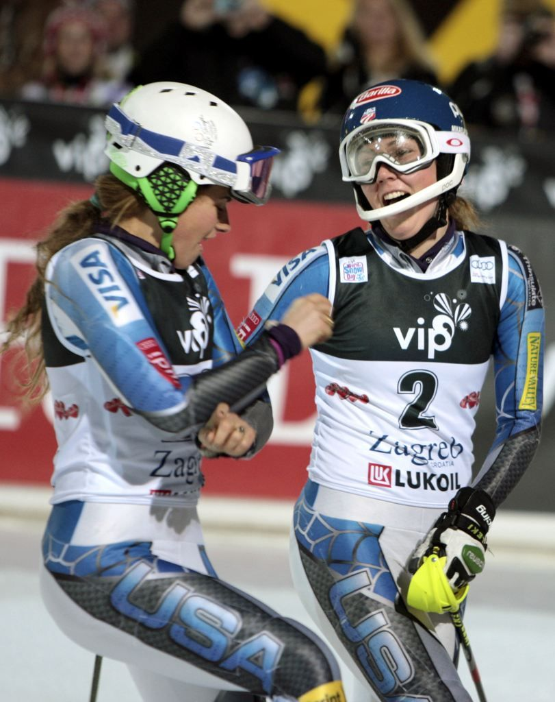 Mikaela Shiffrin of the US (left) celebrates her WC victory in the finish with teammate Resi Stiegler on Jan 4. 2013