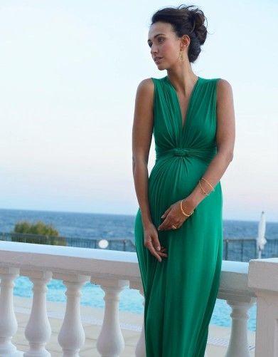 6269c8e4fe8483 Emerald Knot Front Maternity Maxi Dress