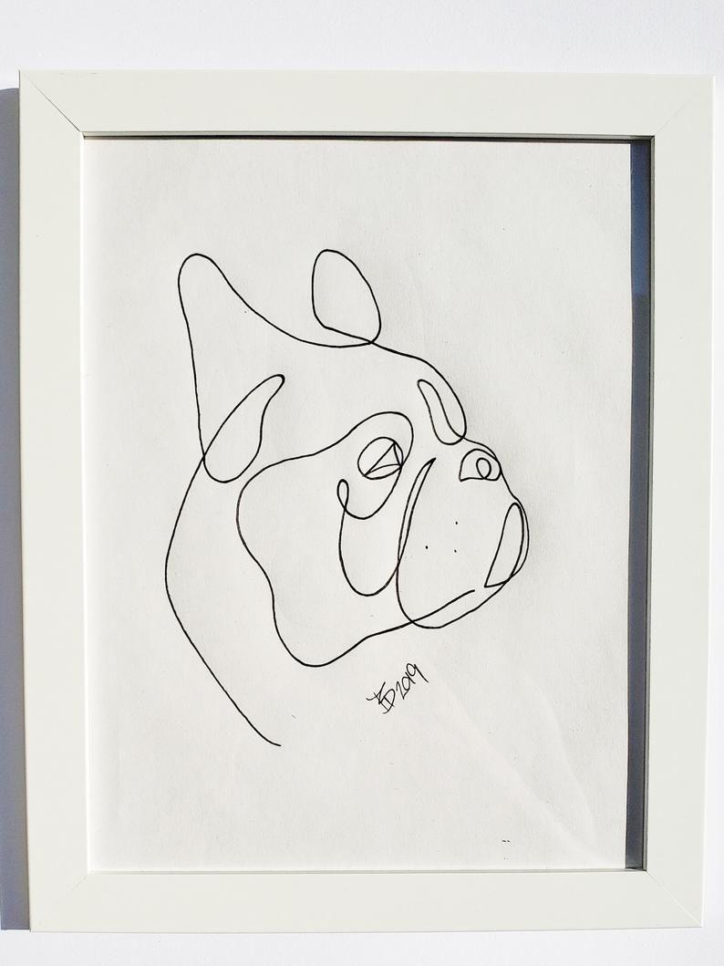 Boston terrier print minimalistic print single line print