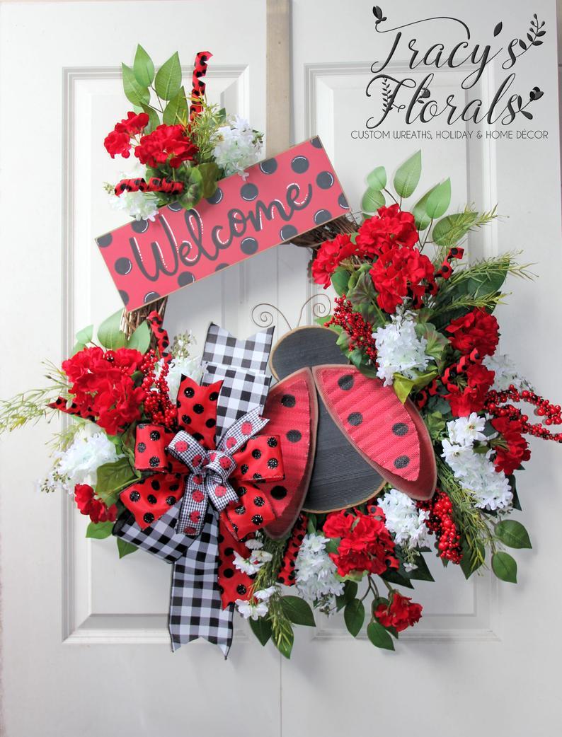 summer wreath spring wreath Hello Lady Bug Wreath,Lady bug wreath Front door decor,Welcome Wreath deco mesh wreath front door wreath