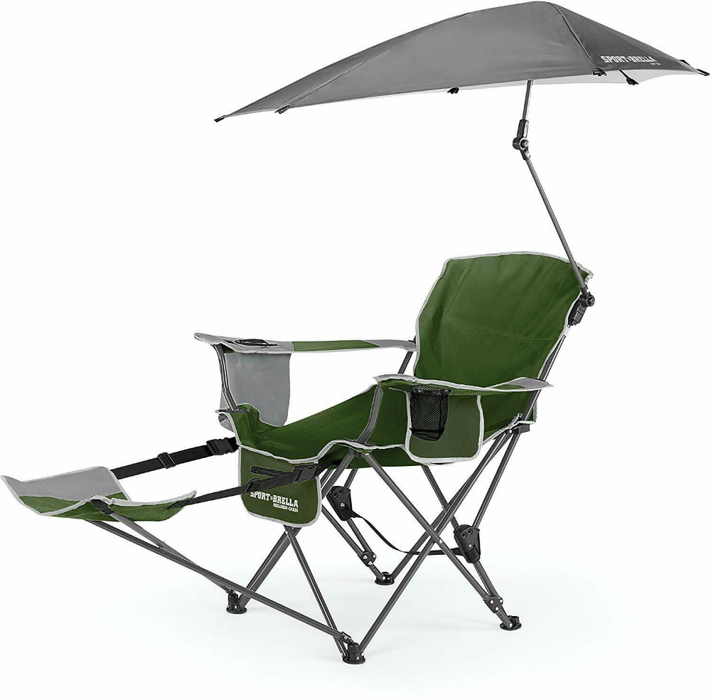Sport Brella 3 Position Recliner Chair With Removable Umbrella And Footrest Ebay Camping Chairs Folding Camping Chairs Recliner Chair