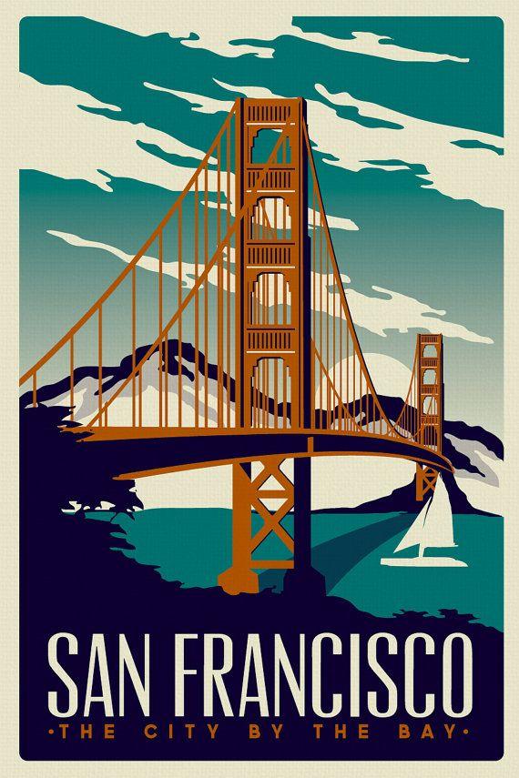 San Francisco Golden Gate Bridge Retro by RetroScreenprints, $29.99