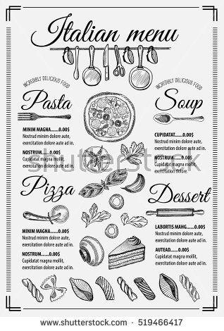 Italian Menu Placemat Food Restaurant Brochure Template Design Vintage Creative Pizza Flyer With Hand Drawn G Italian Menu Pizza Menu Design Cafe Menu Design