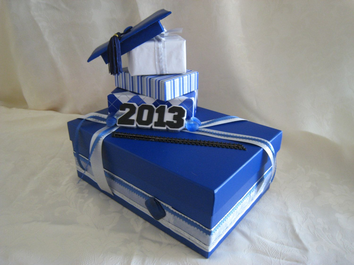 Royal Blue X2f Silver X2f White Graduation Party By Lisaspaperparrodise Graduation Party Cards Party Card Box Graduation Card Boxes