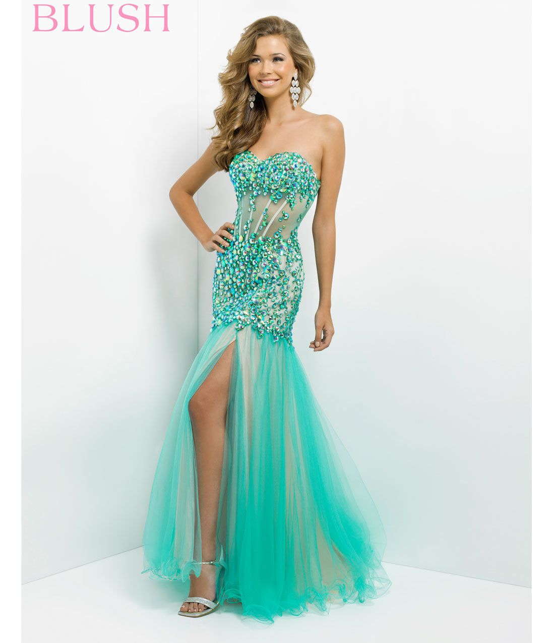 PRE-ORDER) Blush 2014 Prom Dresses - Aquamarine & Nude Beaded ...
