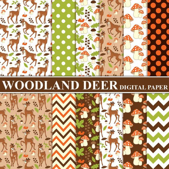 """ITEM: Woodland #Deer #Digital #Paper - Digital Pattern, Deer, Chevron, Forest, Mushroom, Papers for Personal and Commercial Use  WHAT INCLUDED: 12 JPG files (300dpi, 12""""x12"""") ... #thecreativemill #paper #pattern #chevron #woodland #digital #papers #deer"""
