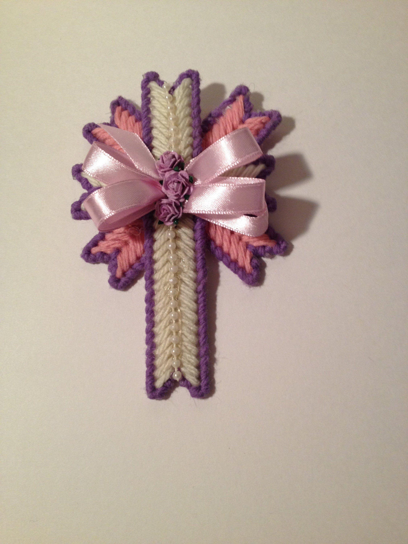 "5"" Small Layered Pink, Light Purple & White Cross White"